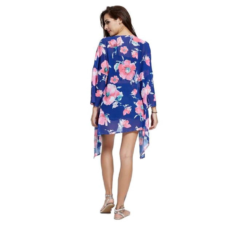Singleluci,Women Boho Floral Print Chiffon Loose Top Blouse