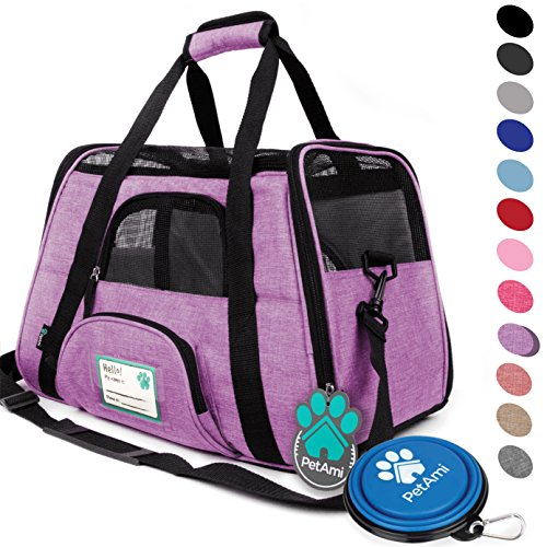(PetAmi Premium Airline Approved Soft-Sided Pet Travel Carrier | Ventilated, Comfortable Design with Safety Features | Ideal for Small to Medium Sized Cats, Dogs, and Pets (Small, Heather Purple))