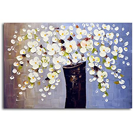 Modern Abstract White Flower Art Oil Painting Floral Wall Decor Pic ...