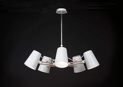 Plafonnier articulé l looker design blanc et bois mantra amazon