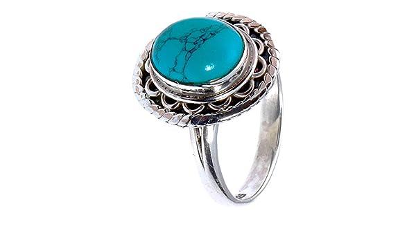 Chic-Net Anillo de plata turquesa, piedra arco, puntos, ovalado, ancho, plata de ley 925, joyas 54 (17,2): Chic-Net: Amazon.es: Ropa y accesorios