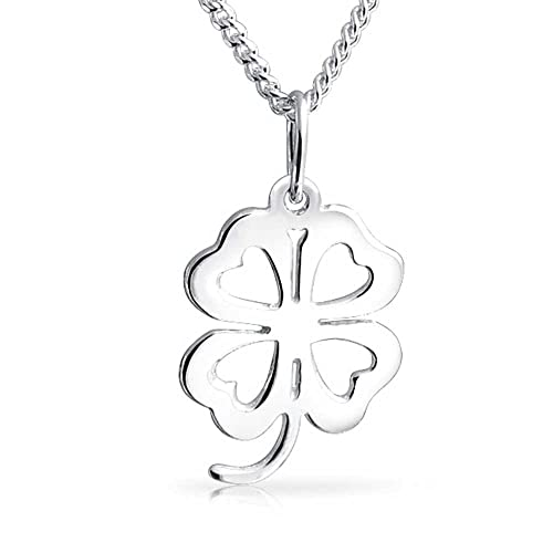 Bling Jewelry Four Leaf Clover Hearts Pendant Sterling Silver Necklace 16 Inches EDQrY