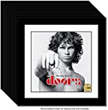 CreativePF [12pk15x15bk-w] LP Vinyl Record Frame Display with White Mat, Cover Insert, Glass and Wall Hanger (12-Pack)