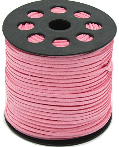 (100 Yards Jewelry Making Flat Micro Fiber Lace Faux Suede Leather Cord (12 Colors) (Pink))