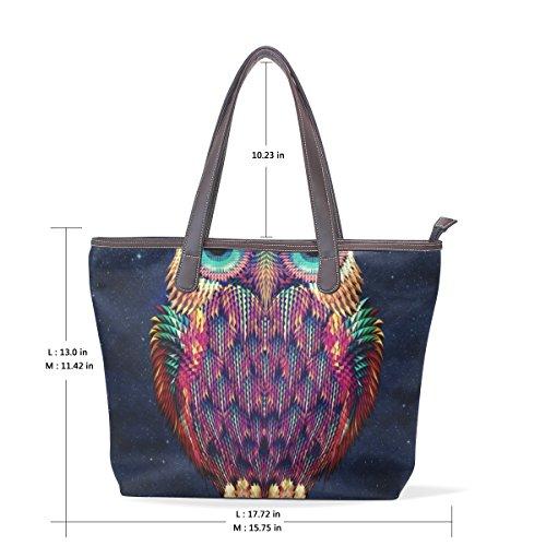 elaborazione a Womens COOSUN tracolla cm 40x29x9 di Borsa dell'unità Tote muticolour Owl cuoio M Colorful impugnatura grande Bag fgqqXAw