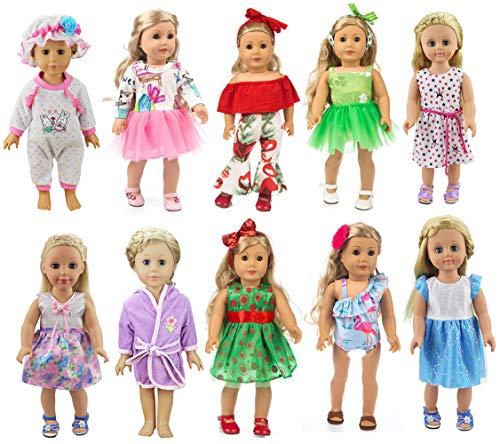 [해외]XADP 10 Sets Girl Doll Clothes and Accessories with HatHair Clips and Hair Bands for 18 inch American Girl DollOur Generation Doll / XADP 10 Sets Girl Doll Clothes and Accessories with Hat,Hair Clips and Hair Bands for 18 inch Amer...