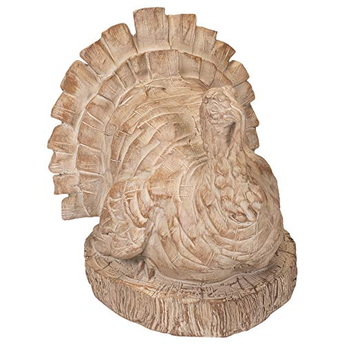 Your Heart's Delight Sitting Turkey Wood Carved Look 5.5 x 6 Inch Polyresin Tabletop Figurine