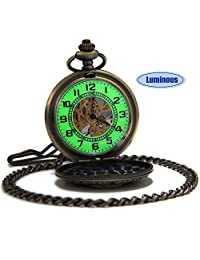 SEWOR Vintage Flower Mens Pocket Watch Luminous Case Mechanical hand wind With Brand Leather Gift Box (Hollow Bronze)