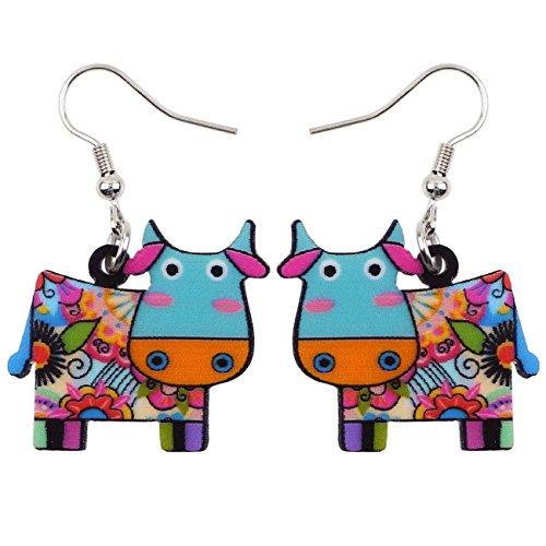 Acrylic Drop Dangle Cows Cattle Earrings Funny Farm Design Lovely Gift For Girl Women Kids By The Bonsny