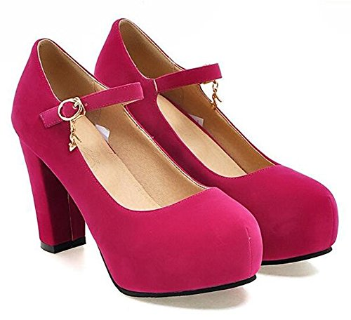 Easemax Moda Donna Falso Suede Fibbia Cinturino Alla Caviglia Punta Tonda Piattaforma Grosso Tacco Alto Pompe Scarpe Rosa Rosso