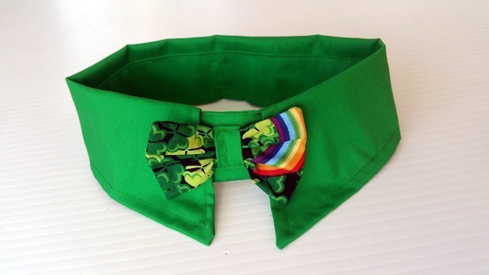 Green Male Dog Dress Shirt Collar with 3 leaf clover bow, Pet neckwear accessory by puranco inc