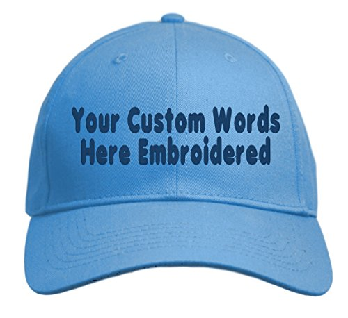 Custom Hat, Embroidered. Your Own Text. Adjustable Back. Curved Bill (Carolina (Cheap Custom Hats)