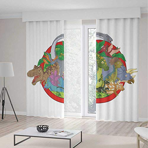 iPrint Jurassic Decor Room Decor Curtains,Dinosaur Characters on Planet Globe Large Tropical Plants Leaves Landscape,Window Drapes 2 Panel Set, Living Room Bedroom,236 W 106 L, ()