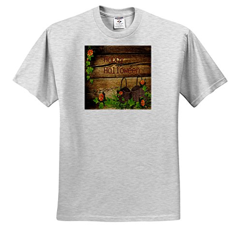 Halloween - Image of Happy Halloween On Country Wood With Baskets - T-Shirts - Youth Birch-Gray-T-Shirt Med(10-12) (ts_262499_29)