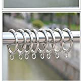 TWOPAGES Smooth Metal Curtain Rings with Eyelets (24, Silver)