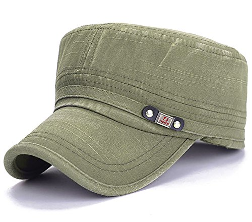 (Glamorstar Unisex Cadet Army Cap Washed Cotton Military Corps Hat Flat Top Cap Green,One Size)