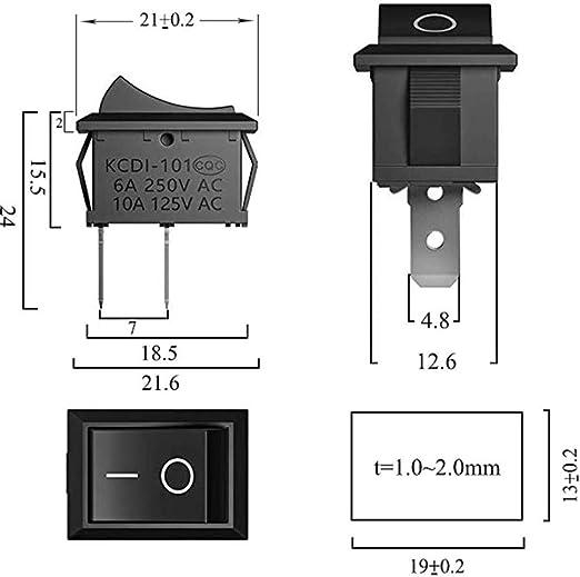 AC 10A 125V 6A 250V f/ür Arduino DIY 20x Schwarz+10x Rot Wippschalter Druckschalter 2-polig 30stk Kippschalter 230V Ein-AUS Schalter
