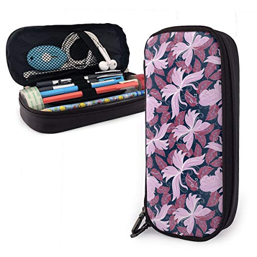 Syringa Canary Butterfly Theme Cute Pen Pencil Case Leather 8 X 3.5 X 1.5 Inch Big Capacity Double Zippers Pencil Pouch Bag Pen Holder Box for School Office Girls Boys Adults