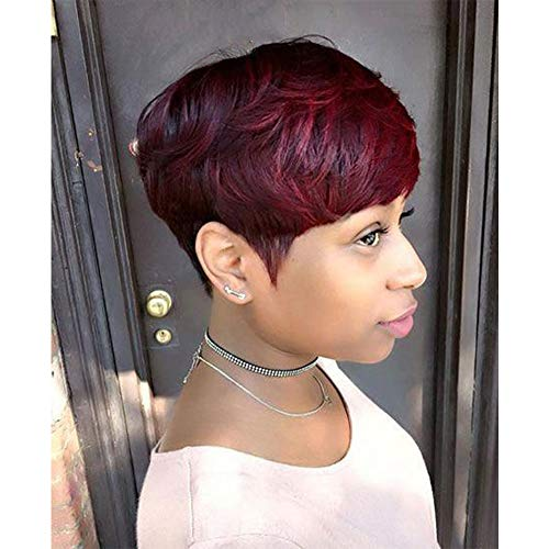 Jiayi Mushroom Human Hair Premium Blend Pixie Cute Wig Afro Short Bob Curly Style Haircut Wig with Bangs for Black Women Ombre Color #1B/Burgundy