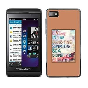 FECELL CITY // Duro Aluminio Pegatina PC Caso decorativo Funda Carcasa de Protección para Blackberry Z10 // Surf Sun Summer Poster Brown Sunshine