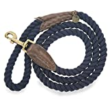 Embark Pets Zion Dog Rope Leash - Made from 100% Cotton, Leashes for Small Medium and Large Dogs (4 FT, Navy Blue)