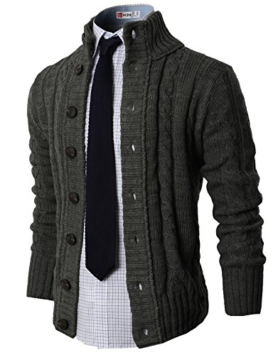 - H2H Mens High-neck Twisted Knit Cardigan Sweater with Button Details, Charcoal, US L (Asia XL)