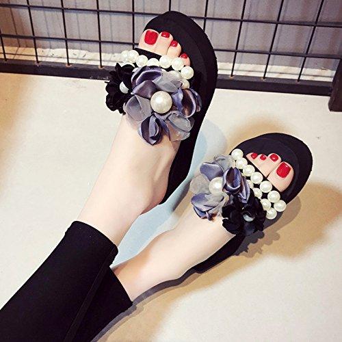 FLYRCX Señoras moda casual perla suave zapatillas inferior antideslizante exterior calzado de playa,37,f ue 37 EU|f