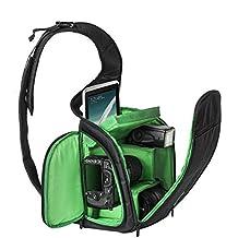 Celendi Waterproof Sling Backpack Shoulder Bag SLR/DSLR Camera Bag for Canon Nikon Sony (Black)
