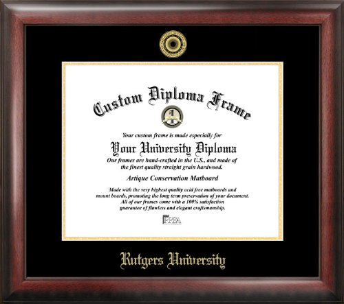 Campus Images ''Rutgers University, The State University of New Jersey, Embossed Diploma'' Frame, 8.5'' x 11'', Gold