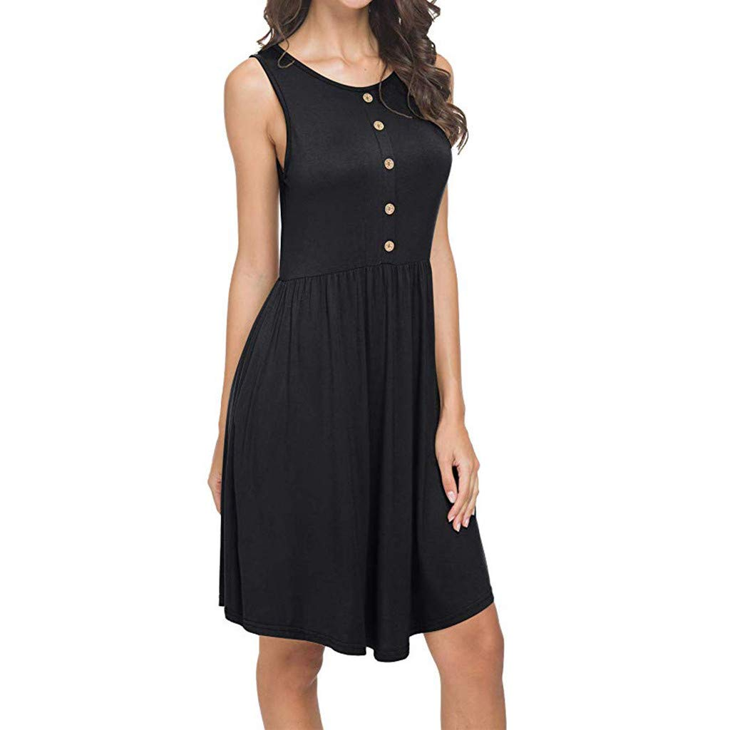 ZOMUSAR 2019 Women's Summer Sleeveless Casual Loose Swing T-Shirt Dress with Pockets Dress Black