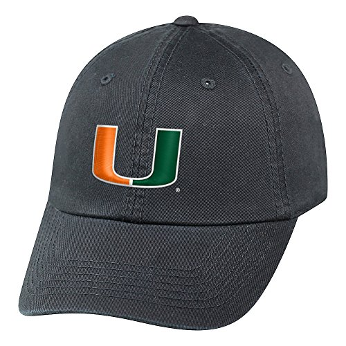 Miami Hat Top - Top of the World NCAA Miami Hurricanes Men's Adjustable Relaxed Fit Charcoal Icon Hat, Charcoal
