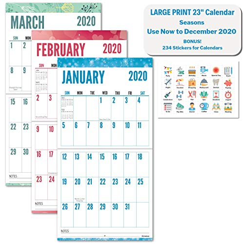 Large Print 2020 Wall Calendar (Seasons), 12x23, Use Now to December 2020, Stunning Big Grid Wall Calendar for Seniors, Vivid Colors, Family or Office Hanging Calendar 2020