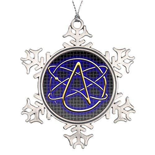 (wonbye Christmas Ornaments 2018, Personalised Decoration Atheist pin Xmas Gold Pattern Metal Snowflake Tree)