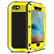 Iphone 6s Waterproof case, Feitenn Armor Aluminum Metal Carbon Fiber Gorilla Glass Heavy Duty Shockproof Protection Case for iphone 6/Iphone 6s (Yellow)