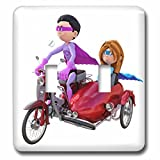 3dRose lsp_245589_2 a Cartoon Superhero Duo Riding a Scooter with a Sidecar Toggle Switch, Mixed