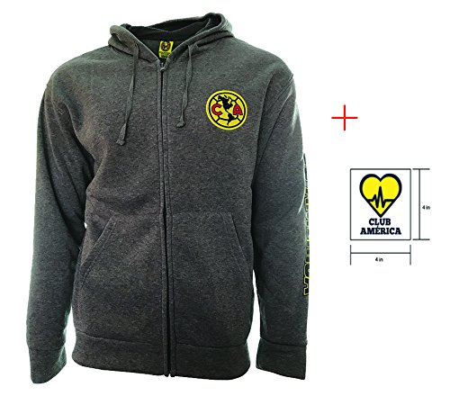 - Club America Zip up Jacket Grey Adults Official licensed New Season + Sticker (Grey, XL)