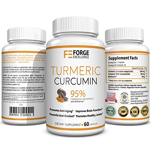 1300MG Turmeric Curcumin with BioPerine - 95% Curcuminoids for Superior Absorption and BioAvailability - Potent Antioxidant and Joint Pain Relief. 100% Herbal Tumeric Curcumin Nutritional Supplement