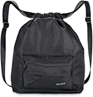 ProCase Water-Resistant Gym Bag, Quality Drawstring Backpack Unisex Sports Bag for Swimming, Surfing, Hot Spri