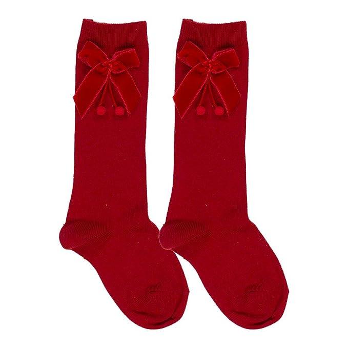 f95eb2e2a1e Condor Socks Knee High Socks With Velvet Bow Red - 4 3-4yr 23-26   Amazon.co.uk  Clothing