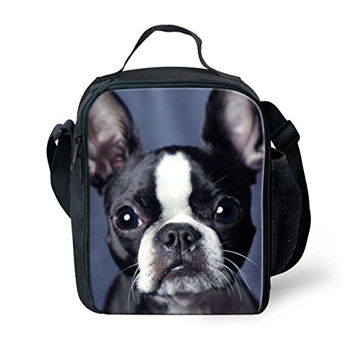 Terrier Zippered Tote - UNICEU Boston Terrier Pattern Kawaii Lunch Tote Bag Insulted Thermal Lunchbox Cooler Container for Kids Boys Girls