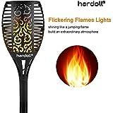 Hardoll Solar Flickering Flame Lights for Garden Decoration(Black)