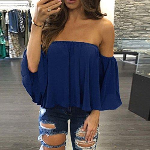 Bleu Tops Tops Blouse Tee Manches Covermason Flounce en Shirt Femmes Chemise Sexy Blouse Shirt Chemisier paule Mousseline Longues T Off Solid T xwqg16t