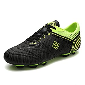 Dream Pairs 160859 Men's Sport Flexible Athletic Lace Up Light Weight Outdoor Cleats Football Soccer Shoes BLACK N.GREEN SIZE 9.5