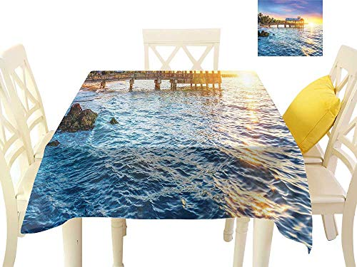 Oil-Proof and Leak-Proof Tablecloth United States Pier at Beach in Key West Florida USA Tropical Summer Paradise W60 xL60 Suitable for Buffet Table, Parties, Wedding ()