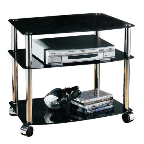 premier housewares meuble tv sur roulettes 3 niveaux tagres en verre noirstructure chrome 52 - Meuble Tv A Roulettes Noir