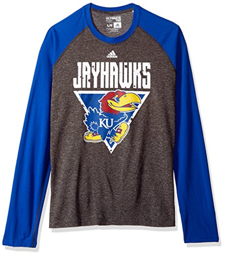 Jayhawks Kansas Shorts Adidas (adidas NCAA Kansas Jayhawks Mens Color Splat Ultimate L/S Raglan Teecolor Splat Ultimate L/S Raglan Tee, Dark Gray Heather, Large)