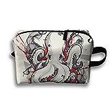 Octopus Tattoo Art Design Travel Bag Cosmetic Bags Portable Makeup Bag Zipper Wallet Hangbag Wristlet Holder