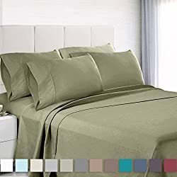 Empyrean Bedding Premium 6-Piece Bed Sheet & Pillow Case Set – Luxurious & Soft Queen Size Linen, Extra Deep Pocket Super Fit Fitted Sage Olive Green Sheets