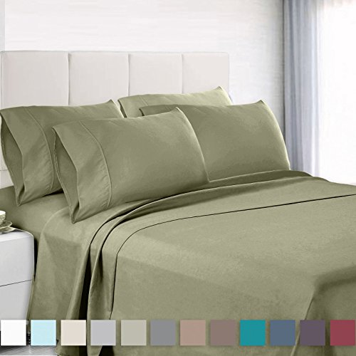 Empyrean Bedding 6 Piece Set - Hotel Luxury Silky Soft Double Brushed Microfiber - Hypoallergenic Wrinkle Free Bed Sheets - Deep Pocket Fitted Sheet, Top Sheet, 4 Pillow Cases, Queen - Sage - Super Pillow Top Set