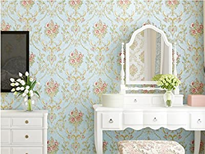 Embossed Vintage Floral Contact Paper Self Adhesive Non Woven Wallpaper for Living Room Bedroom Kitchen Bathroom Wall Decor (Lake Blue, 20.83 Inches by 9.8 Feet)